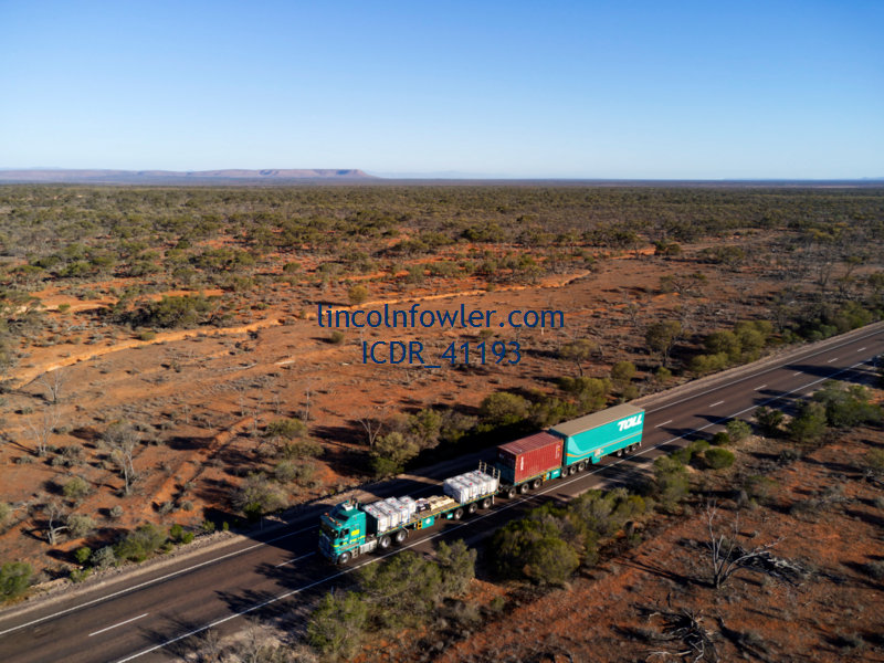 Road Train travelling in the Outback of South Australia