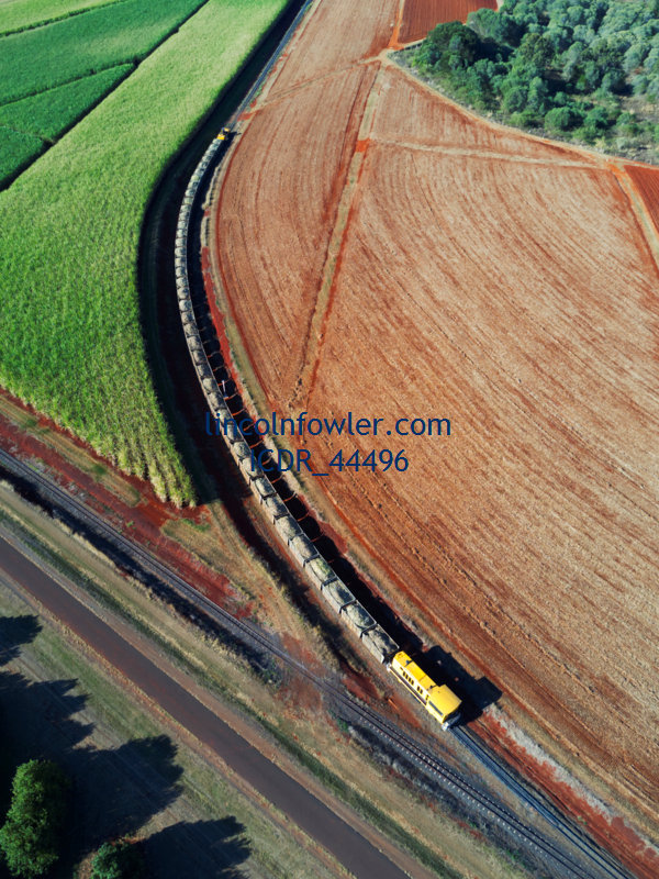 Aerial of sugar cane train Queensland Australia