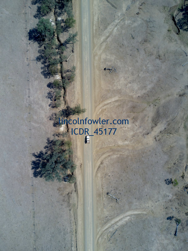Aerial of a unsealed country road Queensland Australia