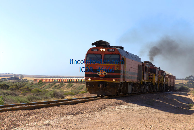 Freight train carrying Gypsum in South Australia