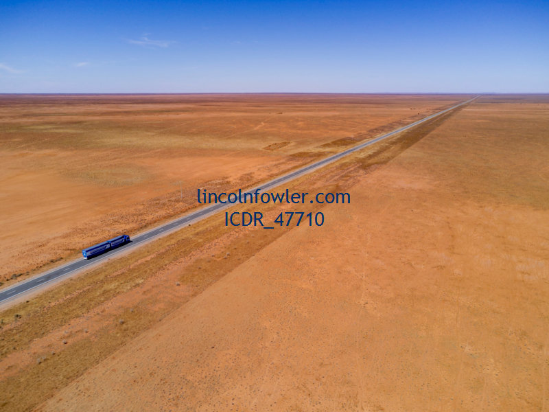 Aerial of long-distance truck driver Australia